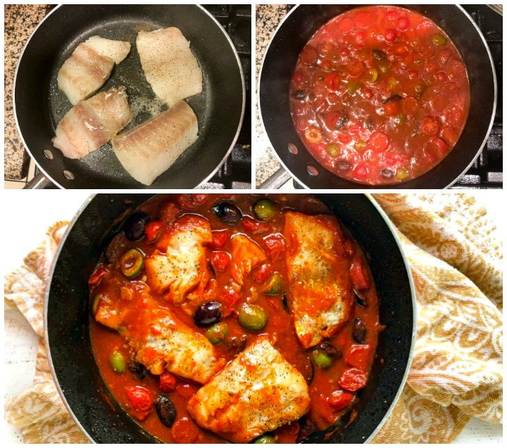 collage of pic of how to make fish in tomato and olive sauce