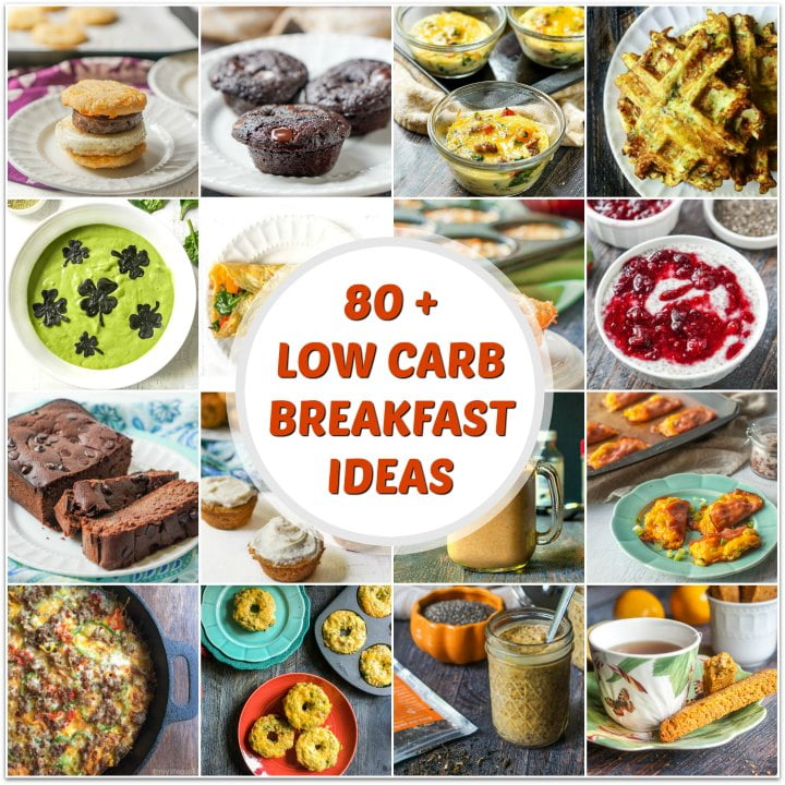 collage of low carb breakfast recipes with text overlay