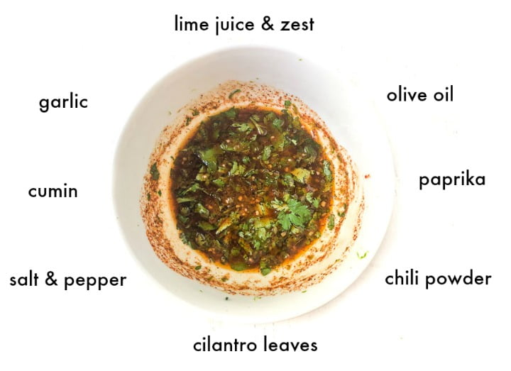 white bowl with mexican marinade and text of ingredients surrounding it