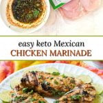 white bowl and platter with marinade Mexican chicken and text