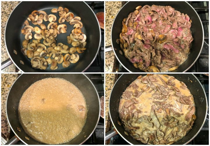collage  of how to make the skillet stroganoff