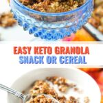 blue dish and white bowl with keto granola with a bright towel and text overlay