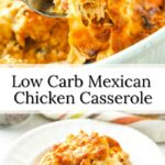 closeup fork fun and white plate of low carb Mexican chicken casserole with text