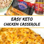 baking dish with keto chicken Mexican casserole and ingredients with text overlay