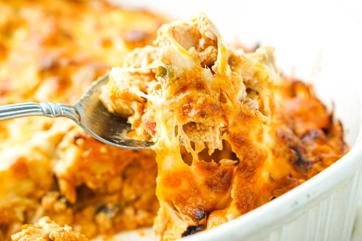 closeup of a spoonful of the cheesy casserole