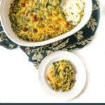 white baking dish and plate with keto spinach & broccoli cheese casserole with text overlay