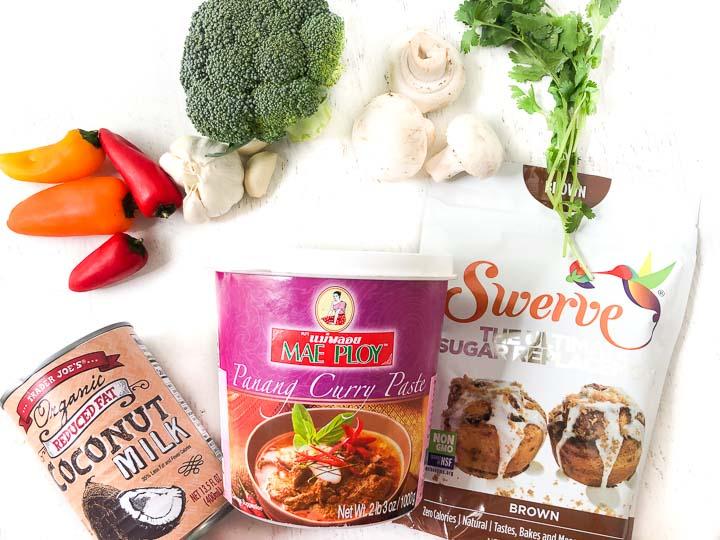 recipe ingredients: Mae Ploy curry paste, Swerve brown sugar, coconut milk, mushrooms, peppers, cilantro, broccoli and garlic