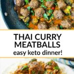 white plate and saute pan with Thai curry keto meatballs and text overlay