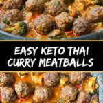 saute pan with Thai curry keto meatballs and text overlay