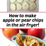 air fryer rack and blue dish with apple chips made in the air fryer and fresh apples with text
