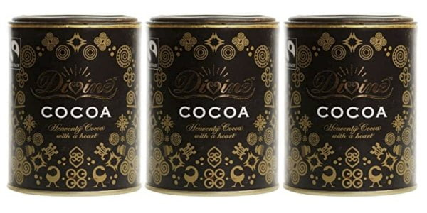 3 containers of Divine cocoa
