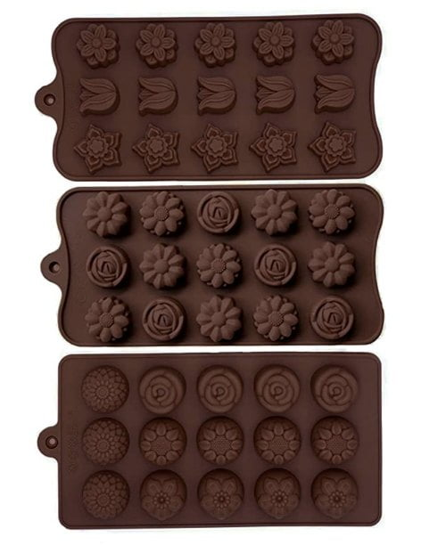 3 dark brown silicone candy molds with decorative flowers