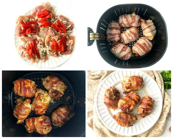 collage of pictures showing how to make the air fryer bacon chicken thighs stuffed with cheese and peppers