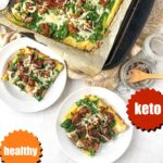 cookie sheet and white plates with sausage keto cauliflower pizza and text overlay