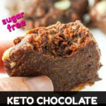 closeup of a hand holding a keto chocolate almond butter cookie with text overlay