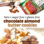 keto chocolate almond butter cookies with ingredients and text overlay