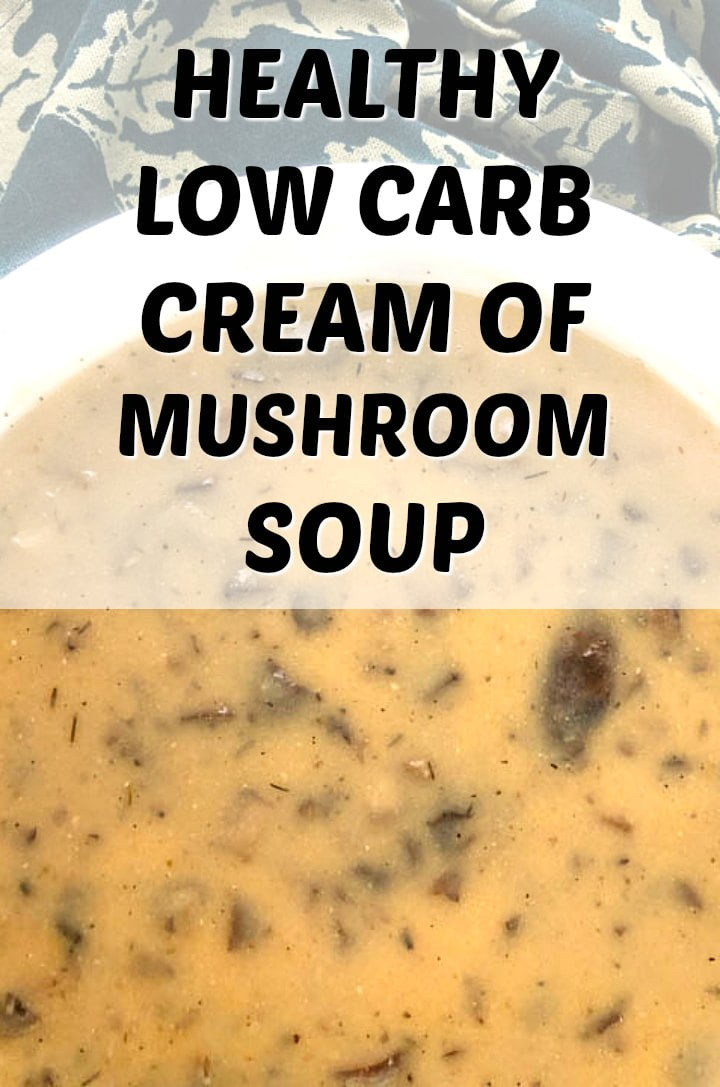 white bowl with keto cream of mushroom soup with text overlay