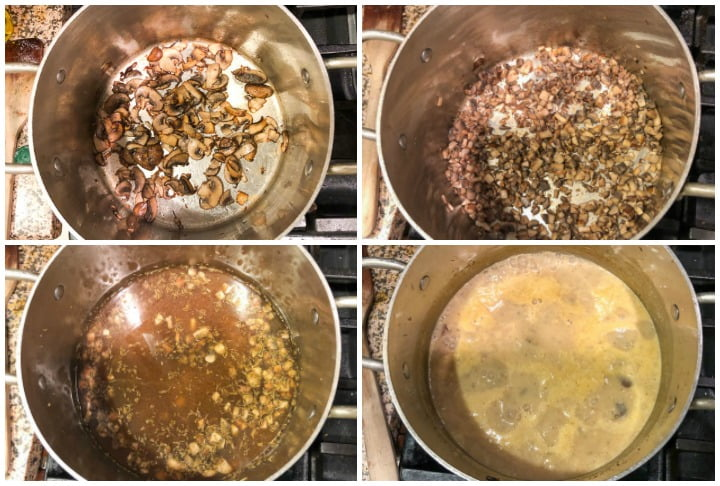 photo collage of soup pot with various stages of keto mushroom soup being made
