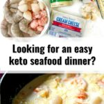 ingredients and skillet with keto spaghetti squash alfredo with seafood and text overlay