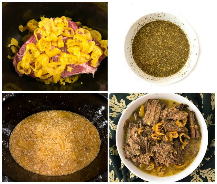 collage of how to make Italian beef in the slow cooker