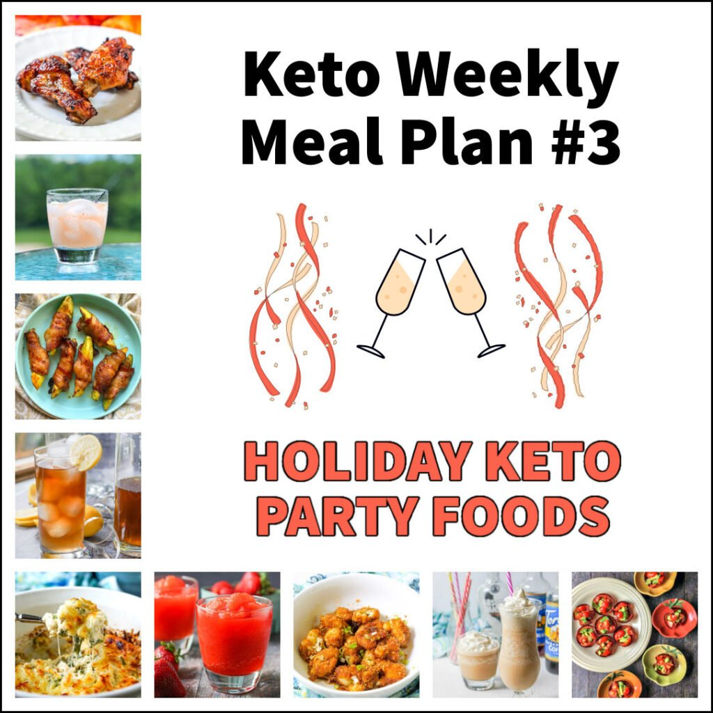 collage of pictures of holiday keto party foods with text overlays