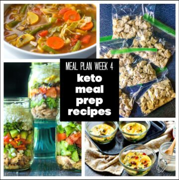 collage of keto meal prep recipes and text