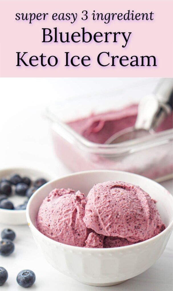 a white bowl and glass dish with keto blueberry ice cream, blueberries and text