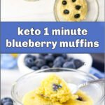 two glass dishes with 1 minute blueberry muffins and a bowl of blueberries, lemon and microplane with text