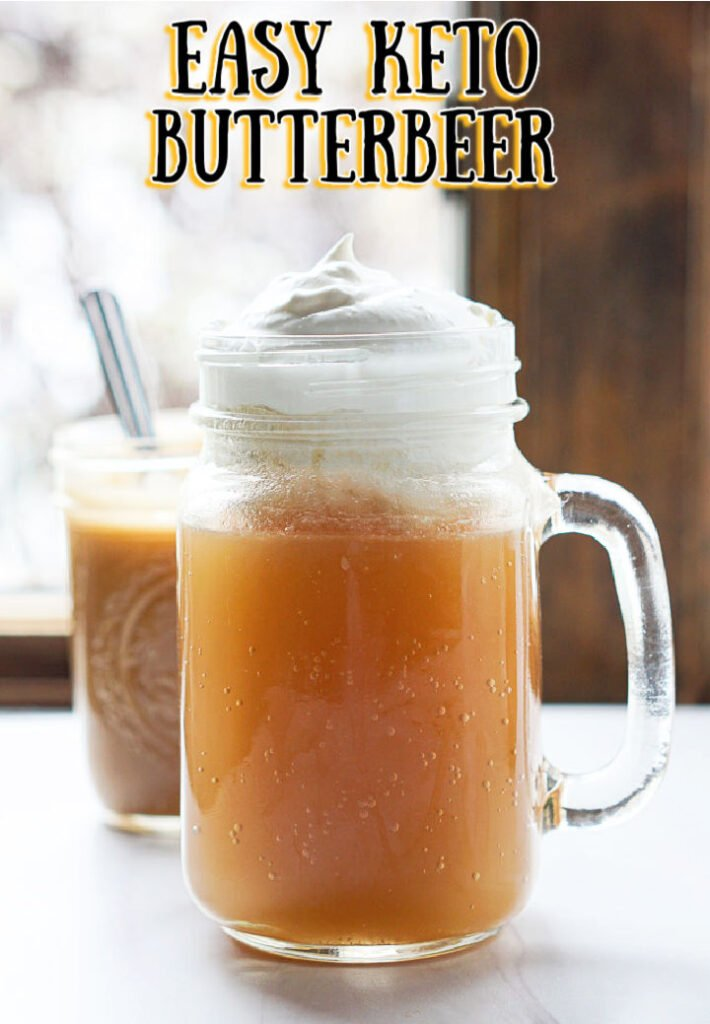 glass mug with keto butterbeer drink with text overlay