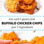 fingers holiday chip and white plate with buffalo chicken keto cheese chips and text overlay