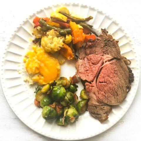 Easy Low Carb Christmas Dinner - Rib Roast & Sides