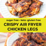 large and small white plates with air fryer chicken legs and colorful tea towel with text