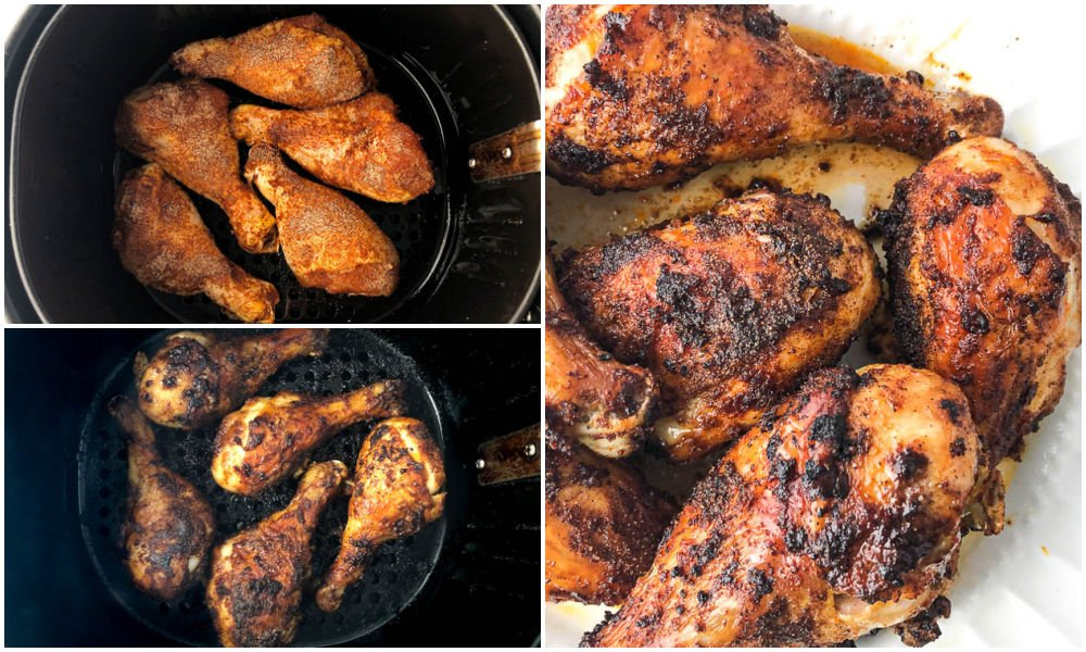 collage of how to cook drumsticks in the air fryer