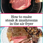 large ribeye steak sliced with garlic mushrooms on white plate with text overlay