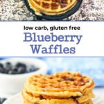 a white plate and mini waffle maker with keto blueberry waffles and text