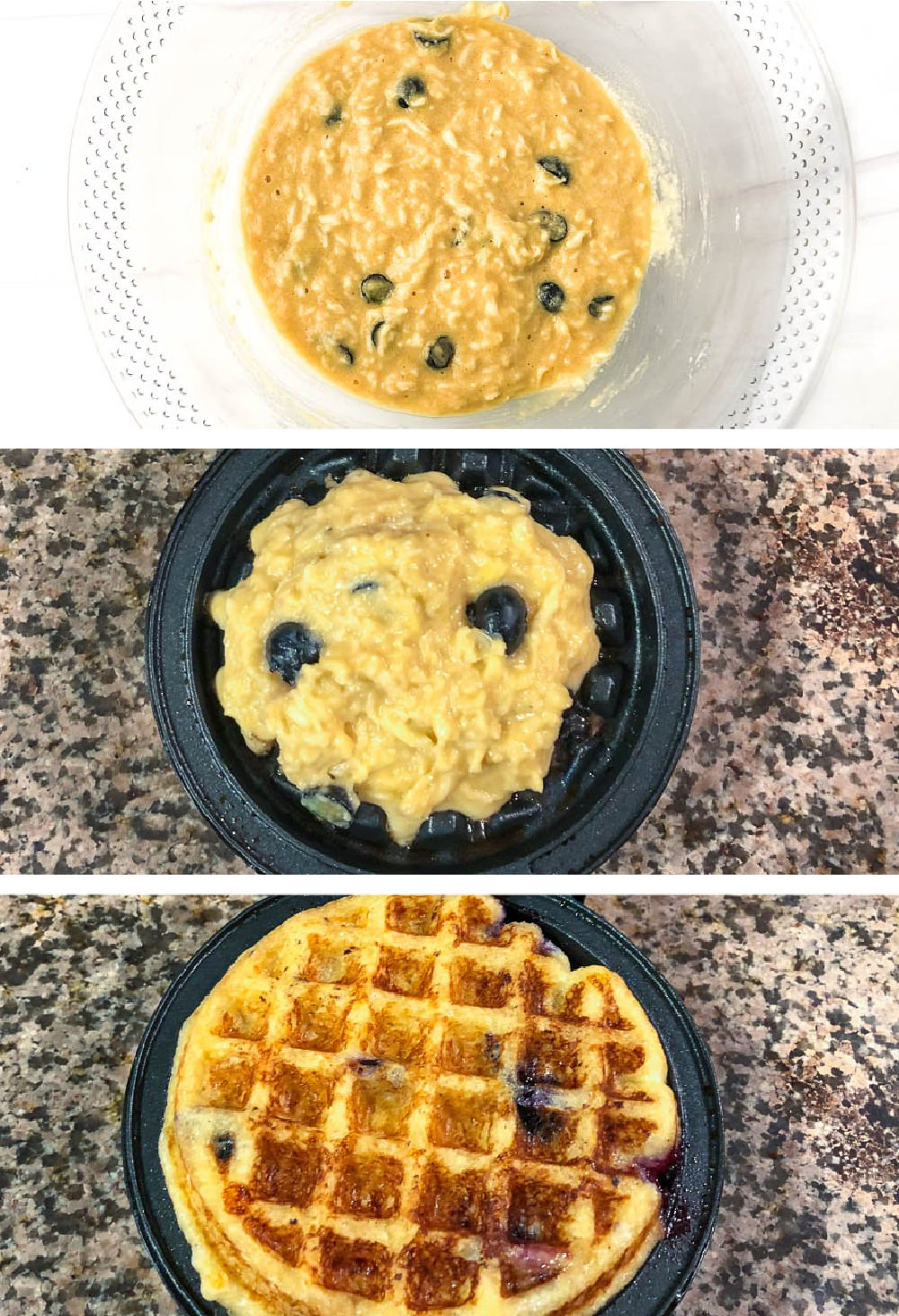 collage of how to make sugar free waffles