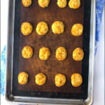 baking tray with keto cauliflower tots and text