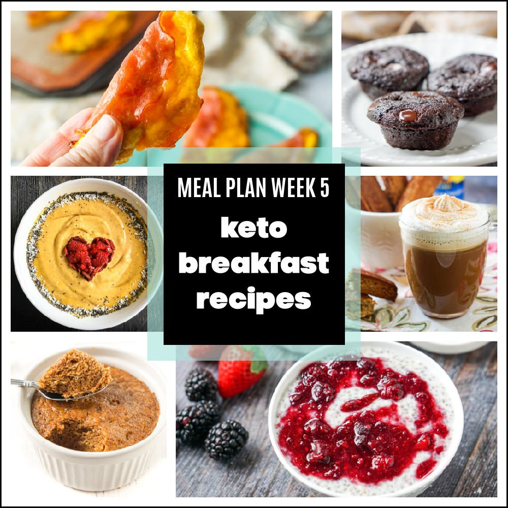 collage of pictures of keto breakfast recipes for this weeks meal plan