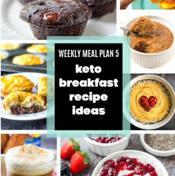 collage of keto breakfast recipes and text overlay