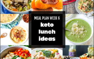 collage of keto lunch ideas with text
