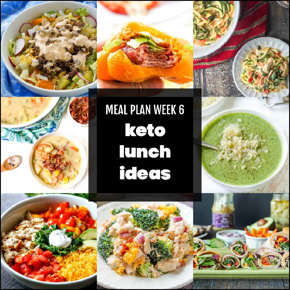 collage of keto lunch pictures with text overlay