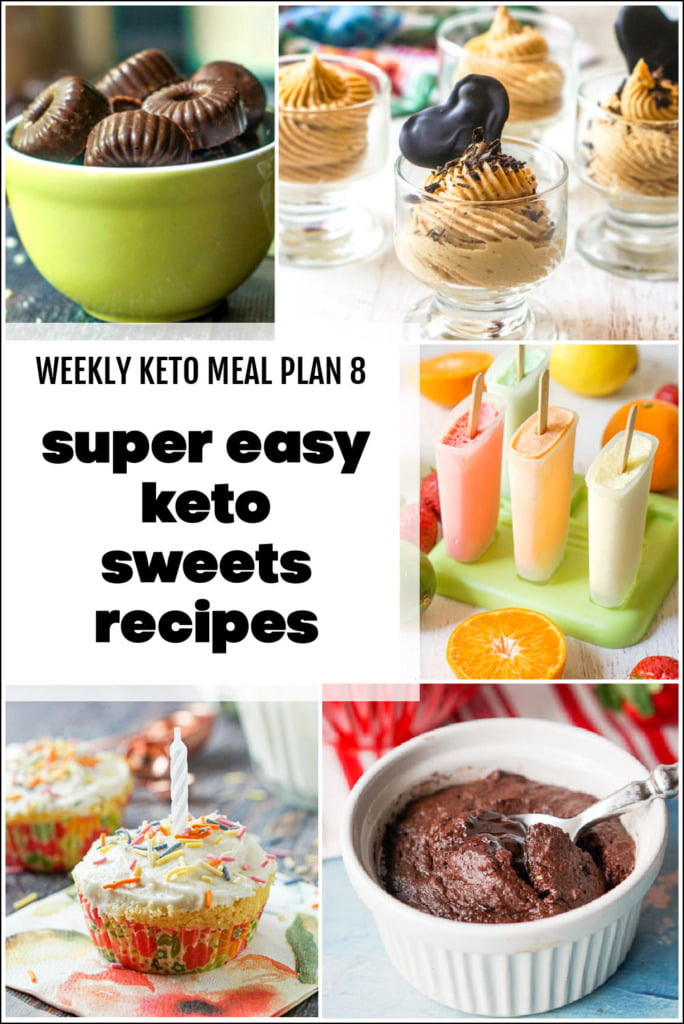 collage of keto sweet recipes for meal plan with text