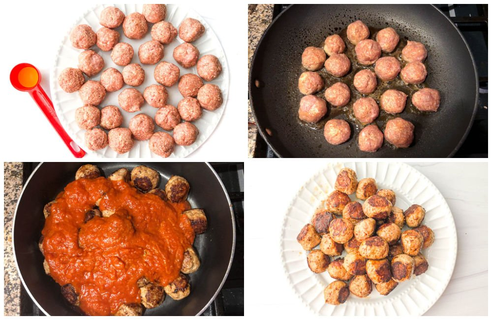 collage of pictures showing how to make low carb meatballs from turkey meat