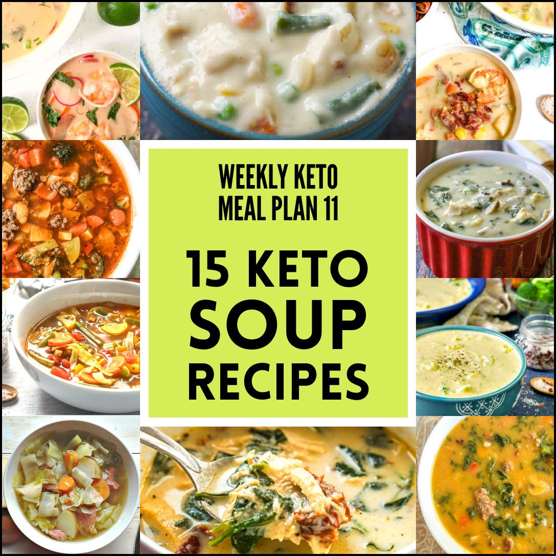 collage of keto soup photos with text overlay