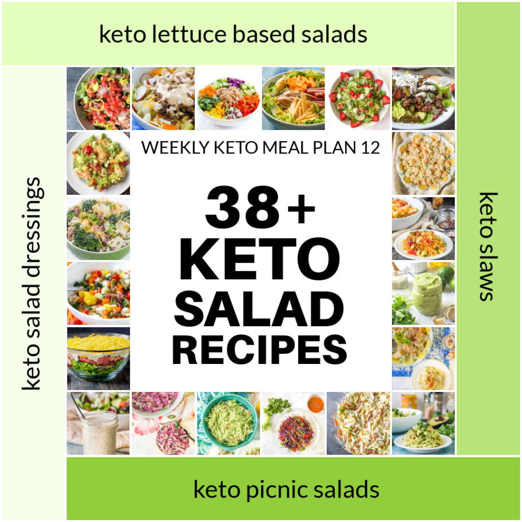 collage of keto salad recipes and text overlay