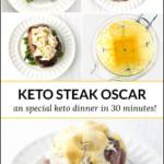 steps to make keto steak Oscar with text