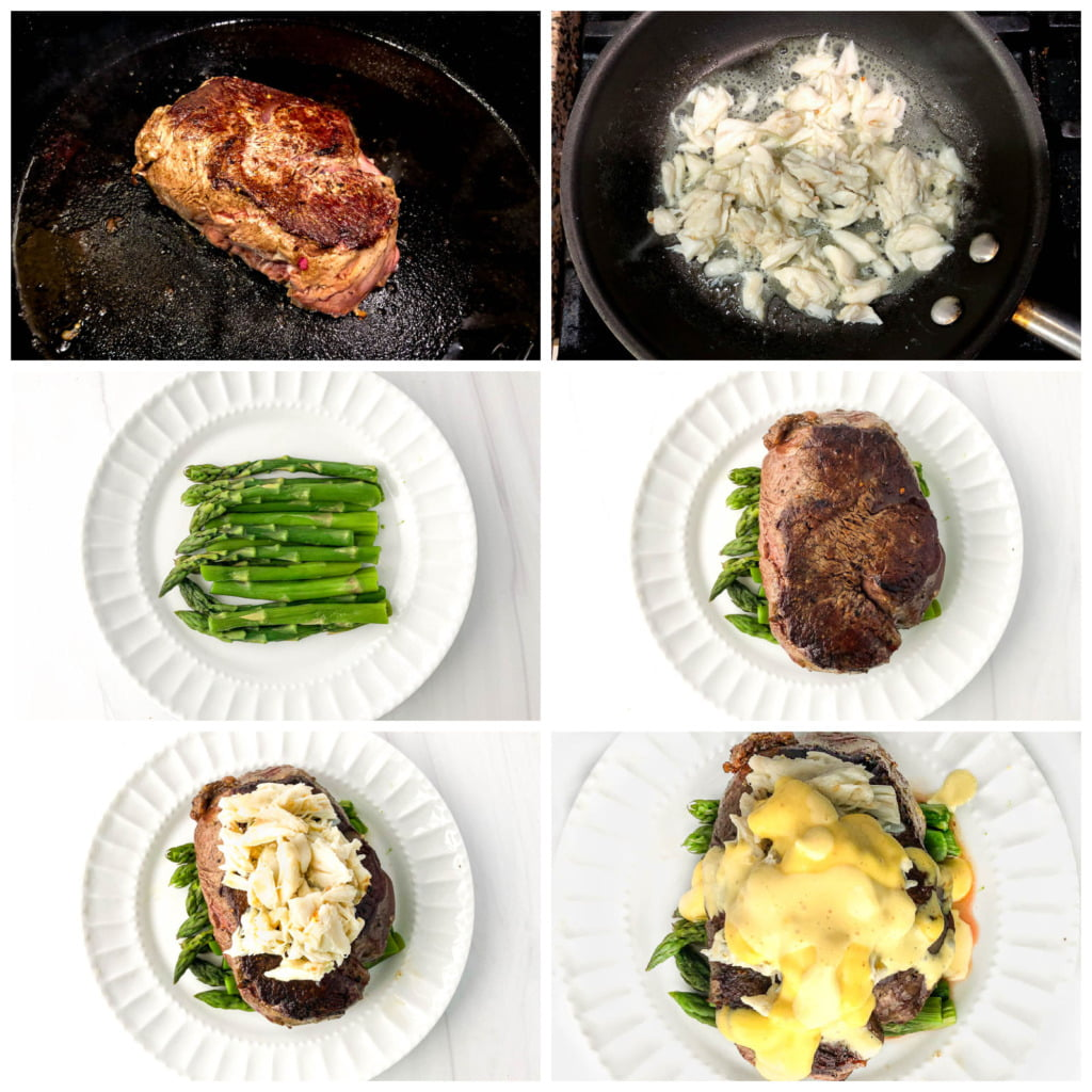 collage of pictures showing how to make steak Oscar