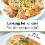 white plate with keto tilapia Romano and text overlay