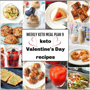 collage of pics of keto Valentine's Day recipes with text overlay