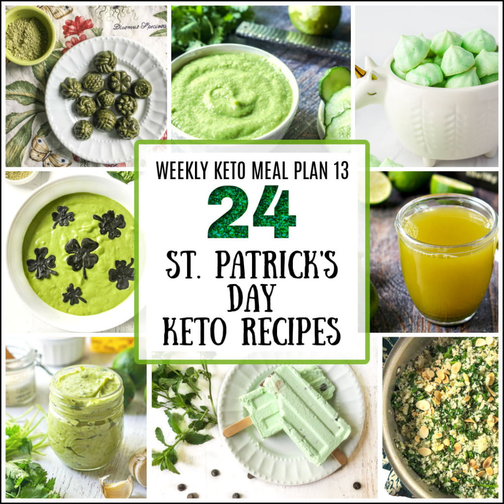 collage of keto St Patrick's Day recipes with text overlay